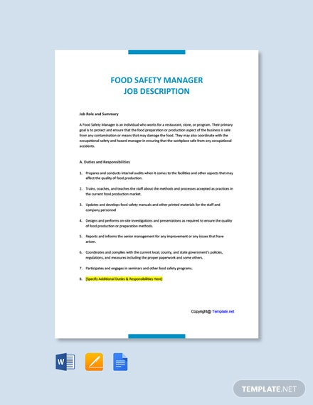Free Food Safety Manager Job Description Template