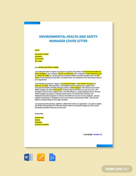 Free Environmental Health And Safety Manager Sample Cover Letter Template
