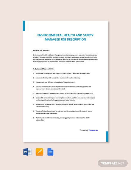 Free Environmental Health And Safety Manager Sample Job Description Template
