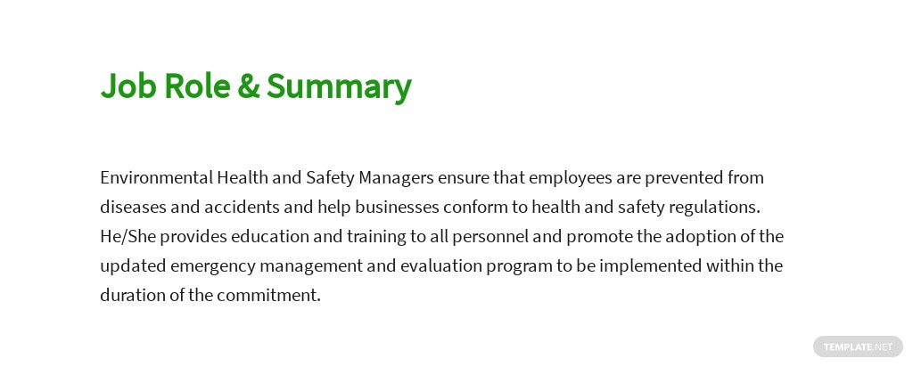 Free Environmental Health And Safety Manager Sample Job Description Template 2.jpe