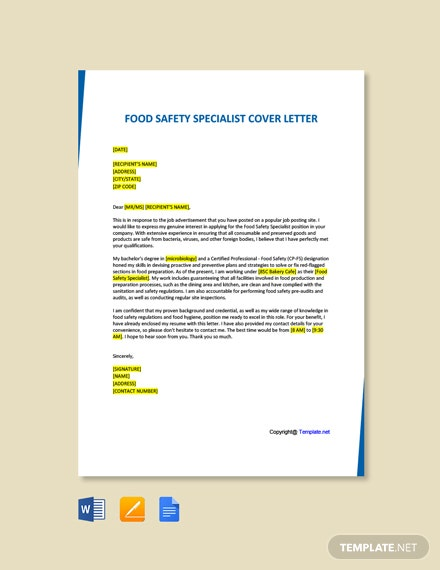Free Food Safety Specialist Cover Letter Template