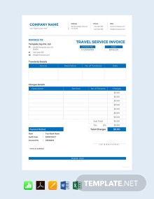 Free Travel Service Invoice Template