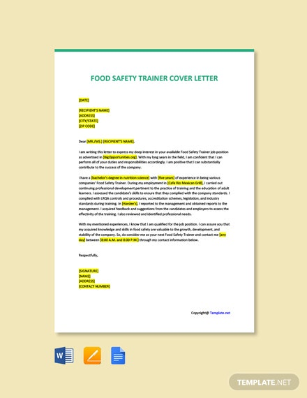 Free Food Safety Trainer Cover Letter Template