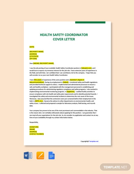 Health Safety Coordinator Cover Letter Template