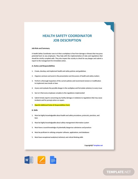 Free Health Safety Coordinator Job Ad/Description Template