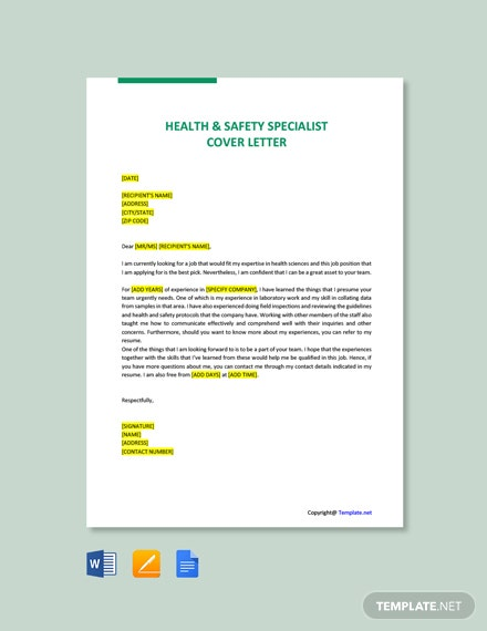 Free Health & Safety Specialist Cover Letter Template