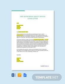 Free Fire Department Safety Officer Cover Letter Template