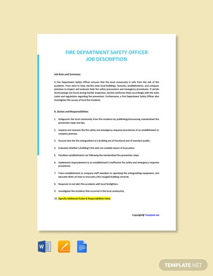 Free Fire Department Safety Officer Job Ad/Description Template