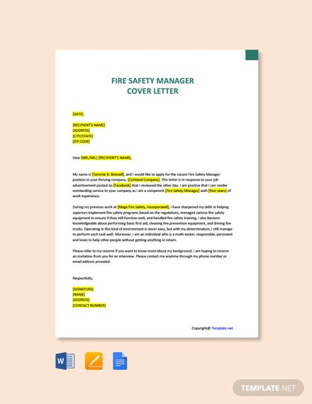 Free Fire Safety Manager Cover Letter Template