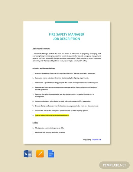 Free Fire Safety Manager Job Ad/Description Template