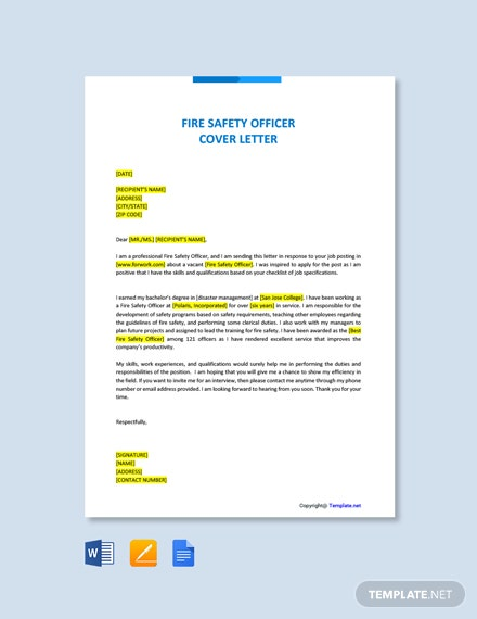 Free Fire Safety Officer Cover Letter Template