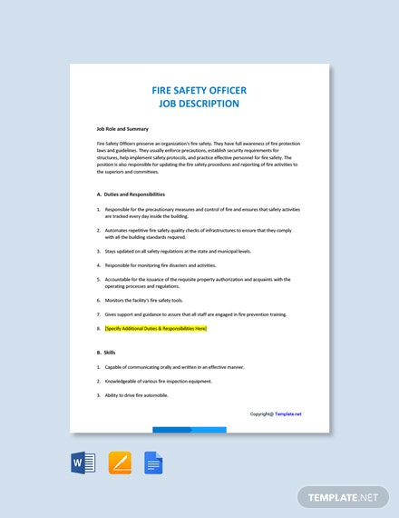 Free Fire Safety Officer Job Ad and Description Template