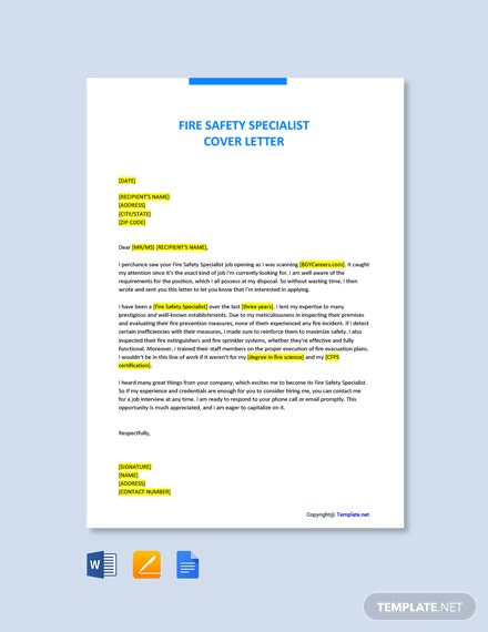Free Fire Safety Specialist Cover Letter Template
