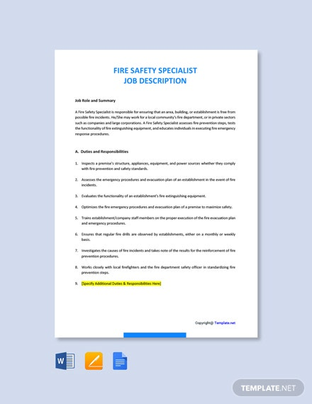 Free Fire Safety Specialist Job Ad/Description Template