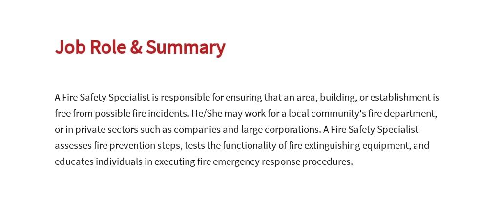 Free Fire Safety Specialist Job Ad/Description Template 2.jpe