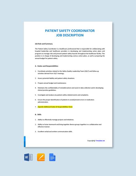Free Patient Safety Coordinator Job Description Template