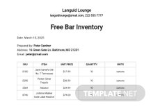 Free Bar Inventory Template