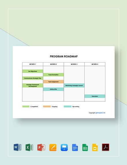 Free Editable Program Roadmap Template