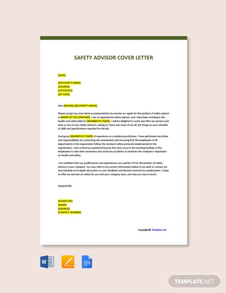 Free Safety Advisor Cover Letter Template