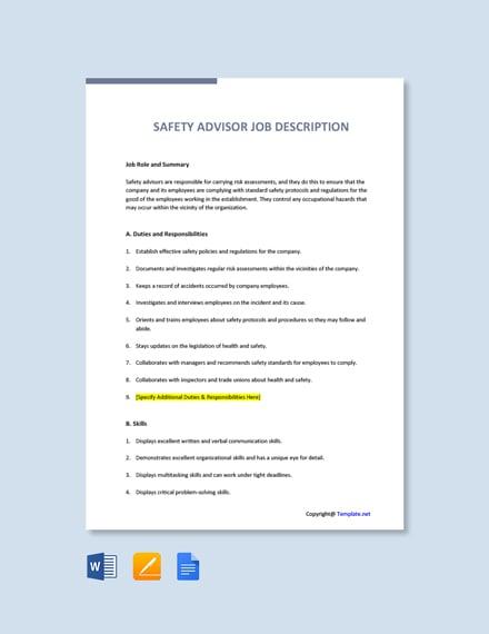Free Safety Advisor Job Description Template