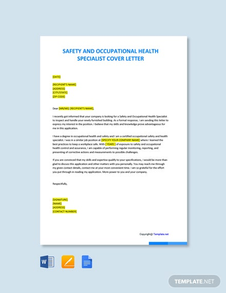 Free Safety And Occupational Health Specialist Cover Letter Template