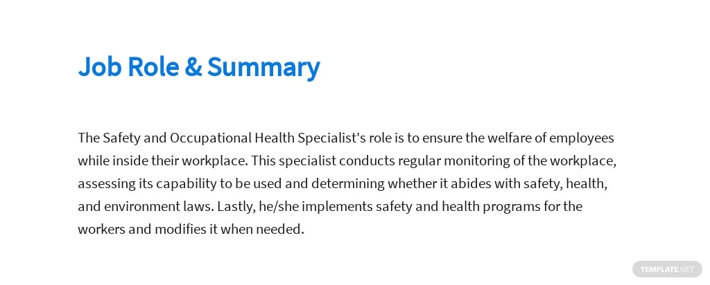 Free Safety And Occupational Health Specialist Job AD/Description Template 2.jpe