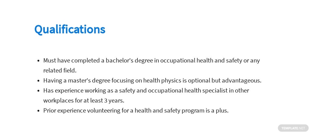 Free Safety And Occupational Health Specialist Job AD/Description Template 5.jpe