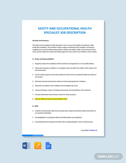 Free Safety And Occupational Health Specialist Job Description Template