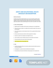 Free Safety And Occupational Health Specialist Job AD/Description Template