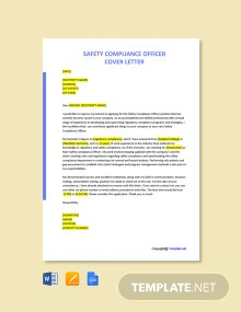 Free Safety Compliance Officer Cover Letter Template