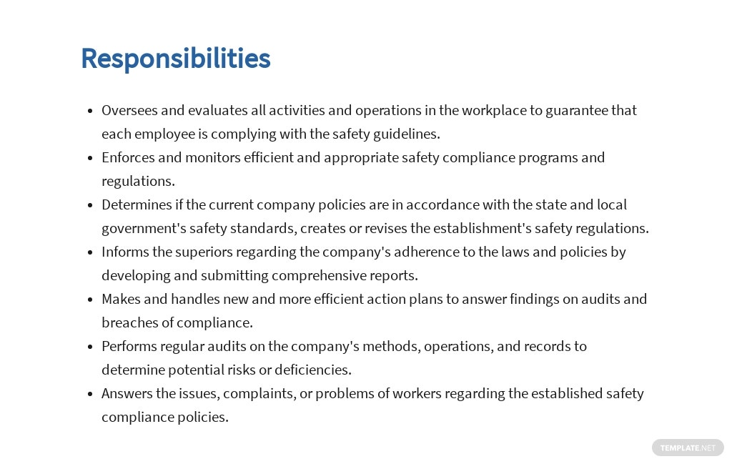 Free Safety Compliance Officer Job AD/Description Template 3.jpe