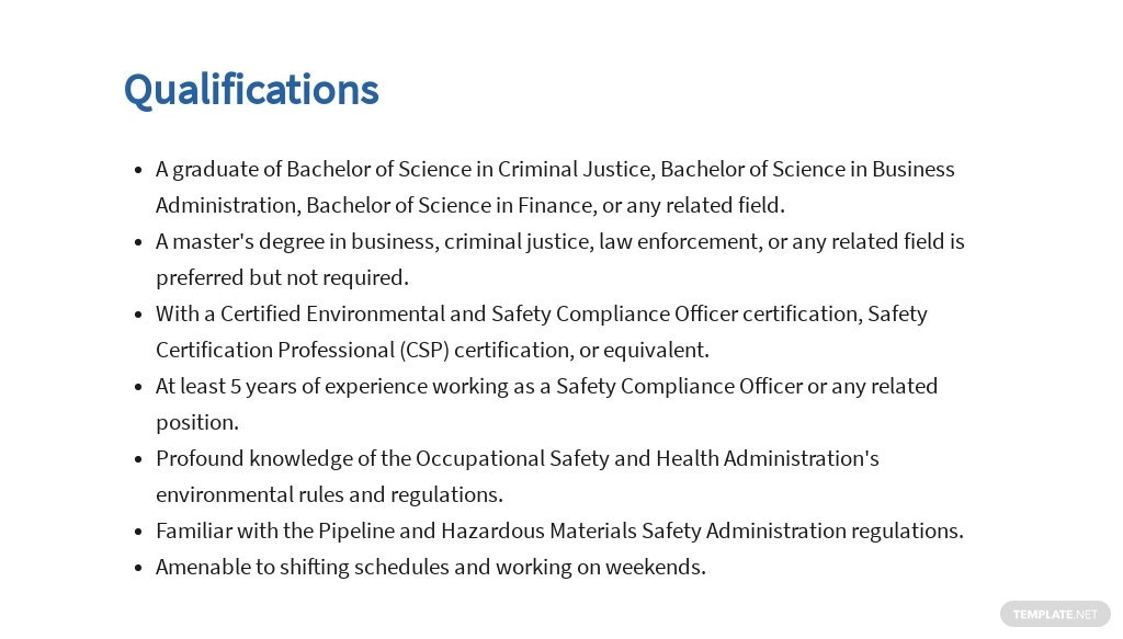 Free Safety Compliance Officer Job AD/Description Template 5.jpe