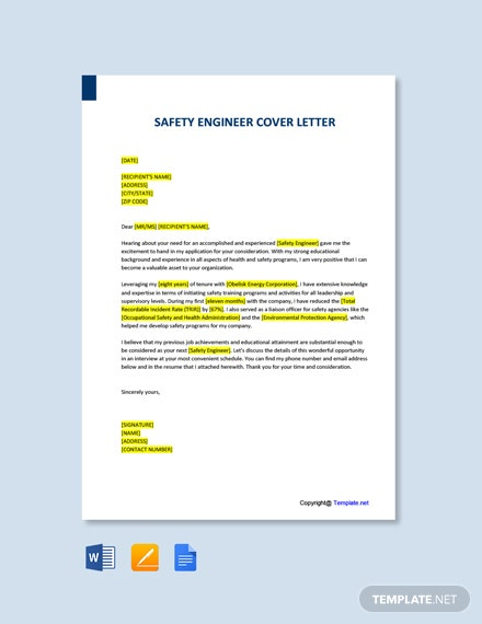 Free Safety Engineer Cover Letter Template
