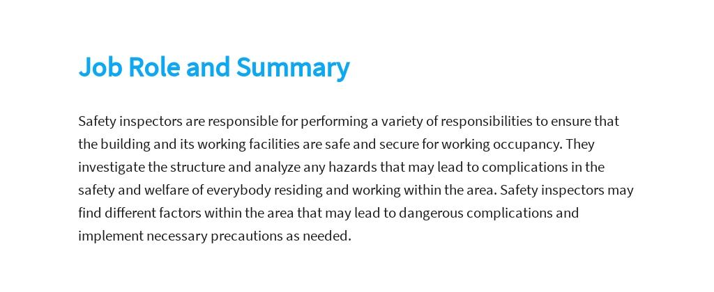 Free Safety Inspector Job Description Template 2.jpe