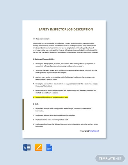 Free Safety Inspector Job Description Template