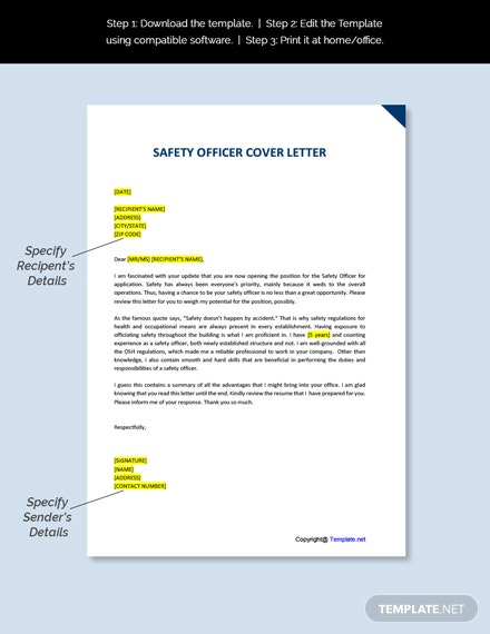 safety officer cover letter template free pdf  word