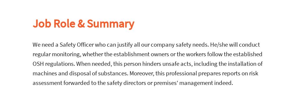 Free Safety Officer Job Description Template 2.jpe