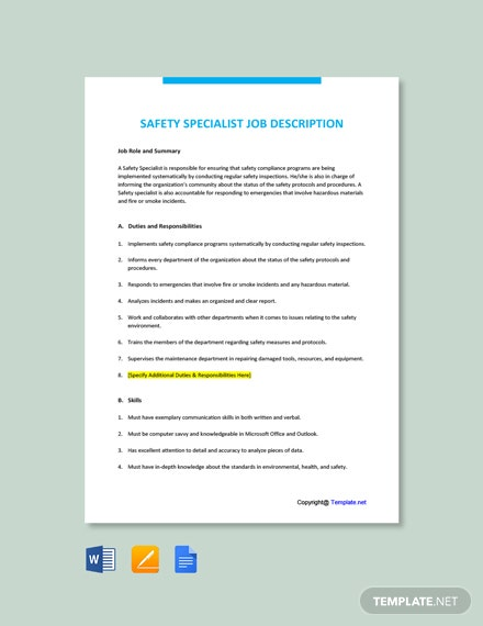Free Safety Specialist Job AD/Description Template