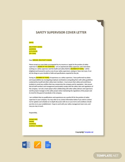 Free Safety Supervisor Cover Letter Template