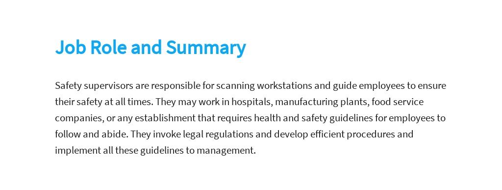 Free Safety Supervisor Job Description Template 2.jpe
