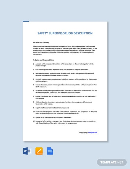 Free Safety Supervisor Job Description Template