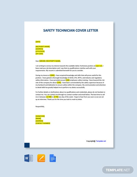 Free Safety Technician Cover Letter Template