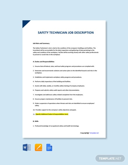 Free Safety Technician Job AD/Description Template