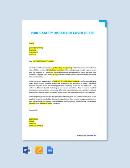 911 dispatcher cover letter