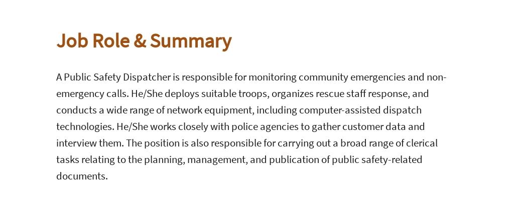 Free Public Safety Dispatcher Job AD/Description Template 2.jpe