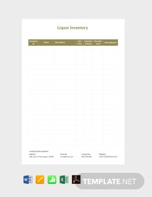 Free Sample Liquor Inventory Template