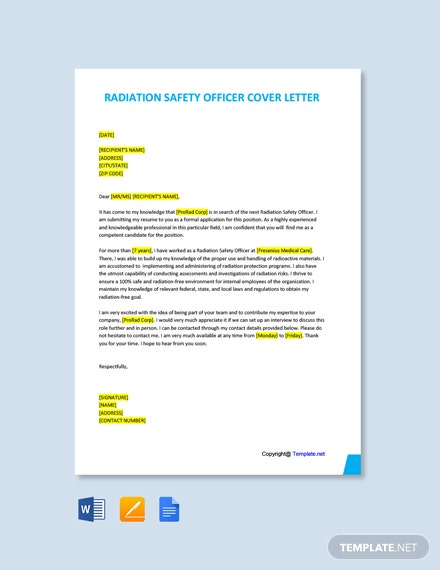 Free Radiation Safety Officer Cover Letter Template