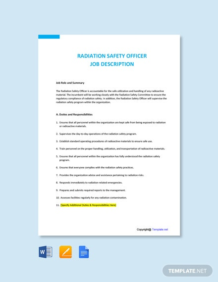 Free Radiation Safety Officer Job AD/Description Template