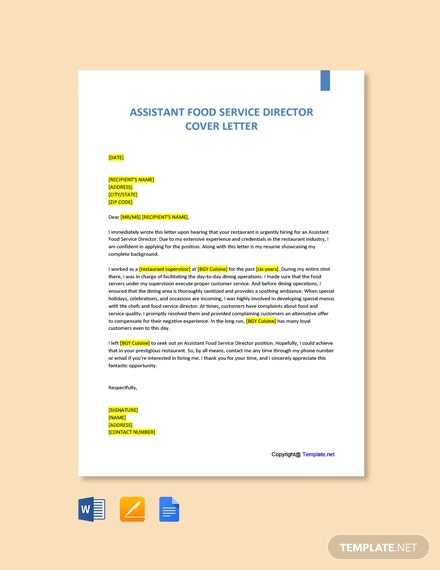Free Assistant Food Service Director Cover Letter Template