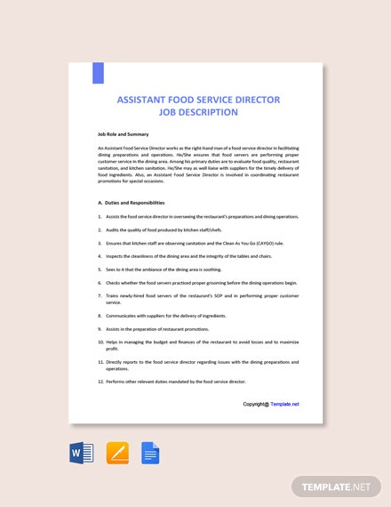 Free Assistant Food Service Director Job Description Template